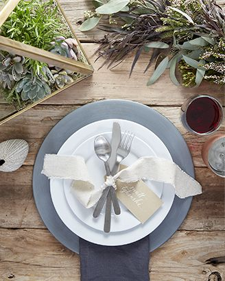 Rustic table setting featuring Aspen Dinnerware with Shindig Charger Plate and Urban Flatware
