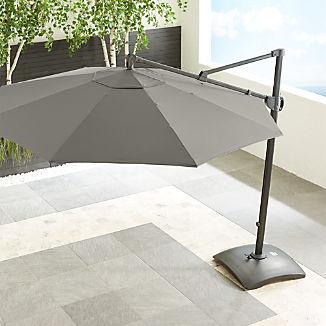 10' Sunbrella ® Graphite Round Cantilever Umbrella with Base