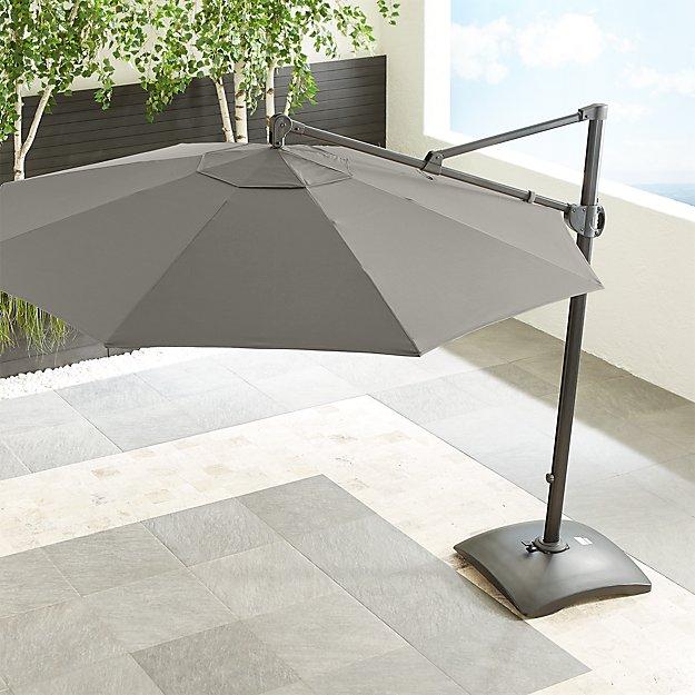 10' Sunbrella ® Graphite Round Cantilever Umbrella with Base - Image 1 of 6