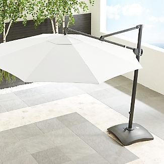 10' Sunbrella ® White Sand Round Cantilever Umbrella with Base