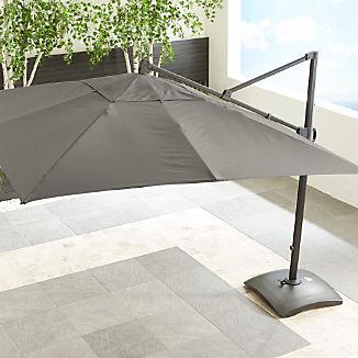 10' Sunbrella ® Graphite Square Cantilever Umbrella with Base