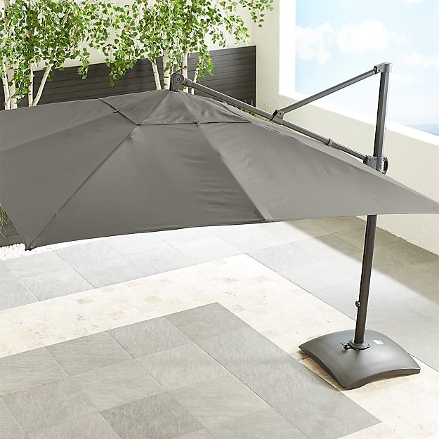 10' Sunbrella ® Graphite Square Cantilever Umbrella with Base - Image 1 of 7