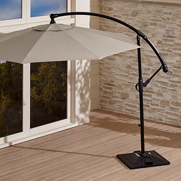 10' Round Sunbrella ® Stone Cantilever Patio Umbrella with Base