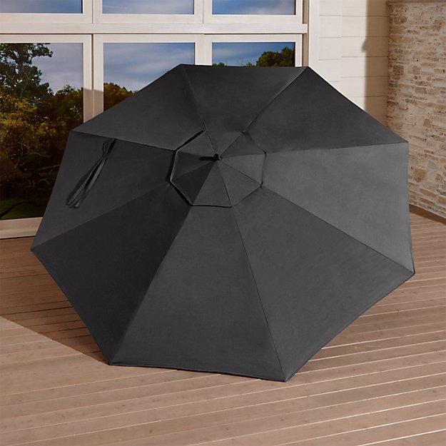 10 39 round sunbrella charcoal cantilever umbrella canopy crate and barrel. Black Bedroom Furniture Sets. Home Design Ideas