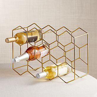 11 Bottle Gold Wine Rack
