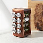 16 Jar Revolving Hourglass Acacia Spice Rack