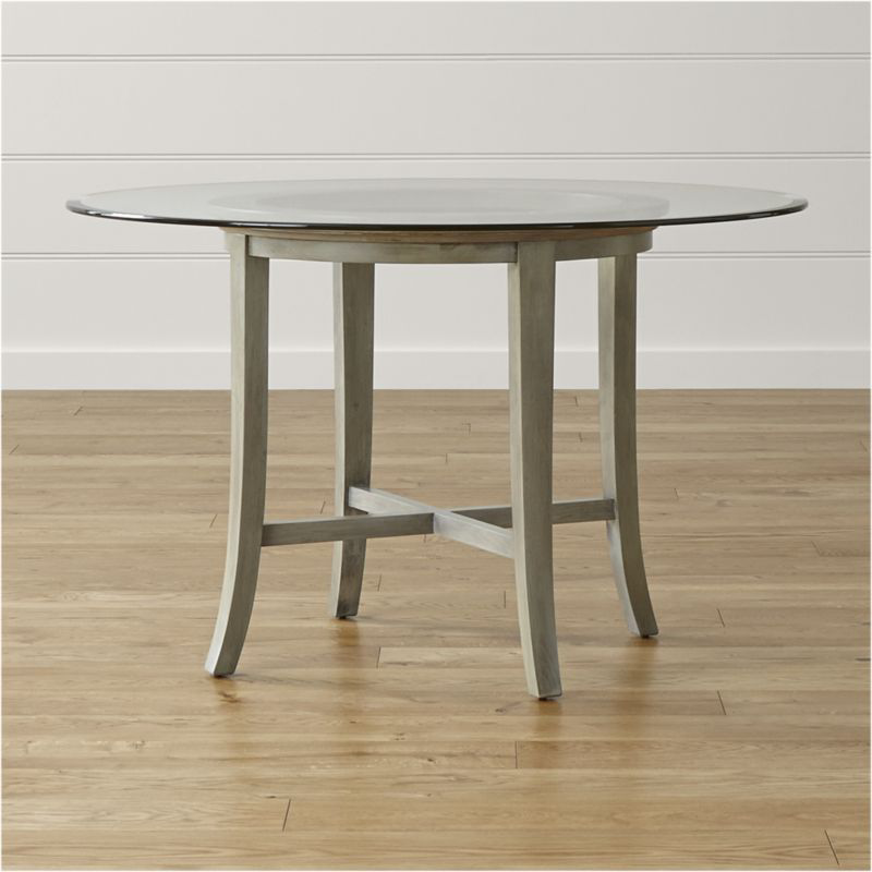 Halo Grey Round Dining Table With 48 Quot Glass Top Reviews