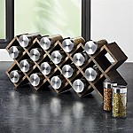 Grey Wash 18-Jar Spice Rack with Stainless Caps