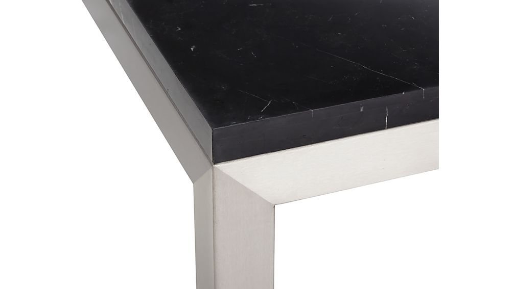 Parsons Black Marble Top/ Stainless Steel Base 72x42 Dining Table