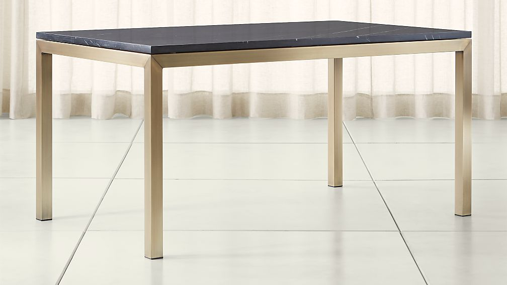 parsons black marble top/ brass base dining tables | crate and barrel Black Dining Table