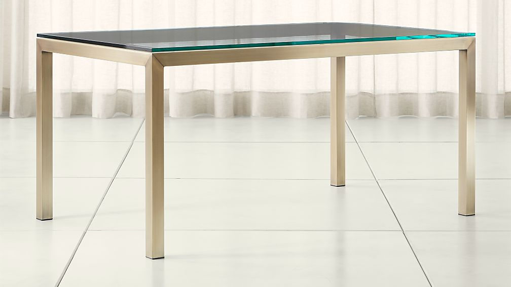 Parsons Clear Glass Top/ Brass Base Dining Tables - Image 1 of 7