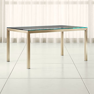 Parsons Clear Glass Top/ Brass Base Dining Tables