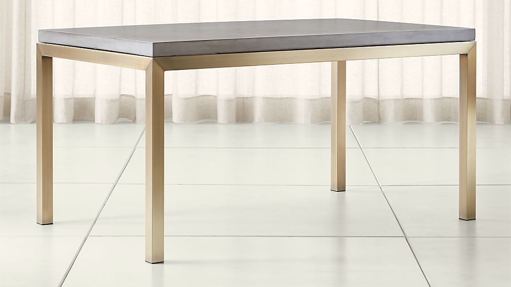 Parsons Concrete Top/ Brass Base Dining Tables - Image 1 of 5