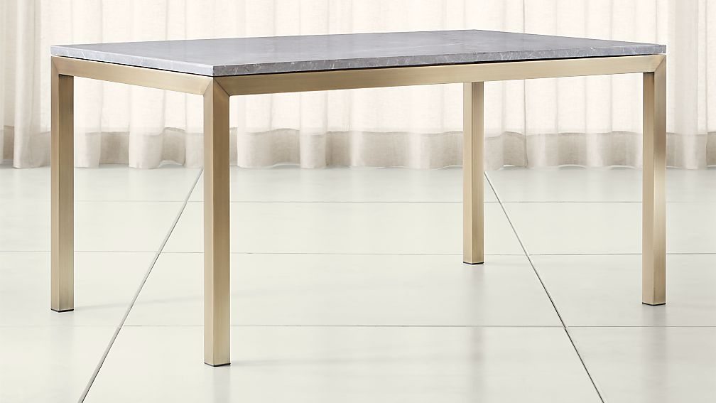 Parsons Grey Marble Top Brass Base Dining Tables Crate And Barrel - Grey marble top dining table