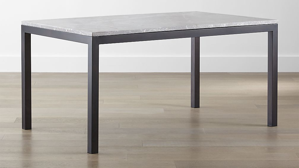 Parsons Grey Marble Top Dark Steel Base Dining Tables Crate And Barrel