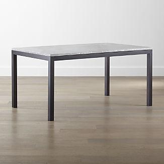 Parsons Grey Marble Top/ Dark Steel Base Dining Tables