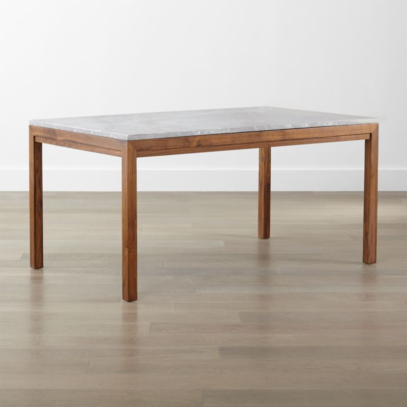 Parsons Grey Marble Top Elm Base Dining Tables Crate And Barrel - Marble top farm table