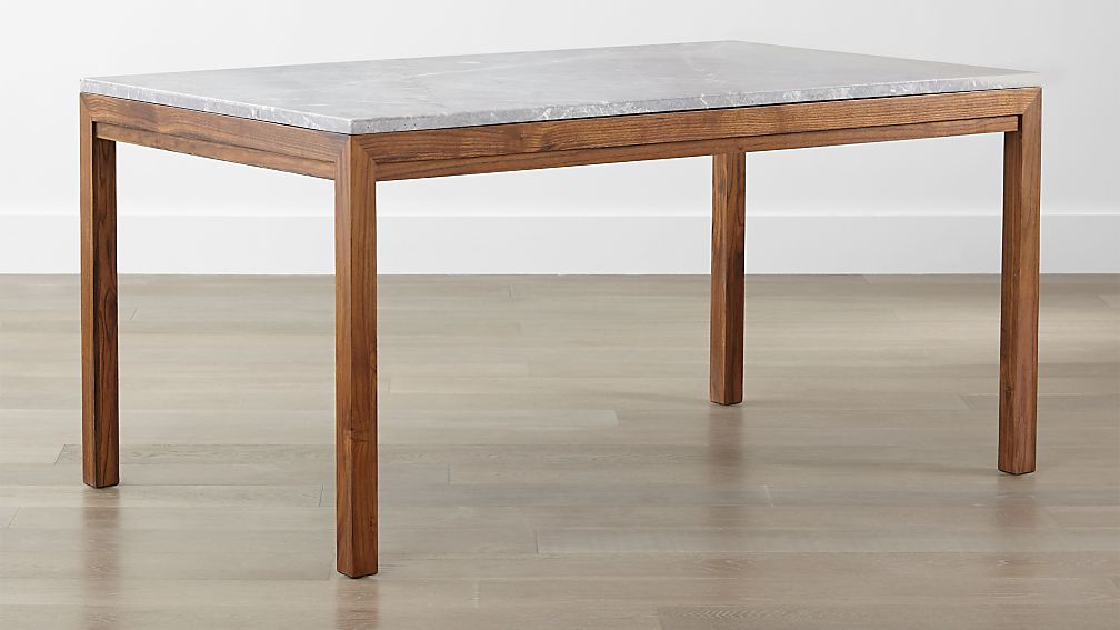 Parsons grey marble top elm base dining tables crate for Custom made marble dining tables