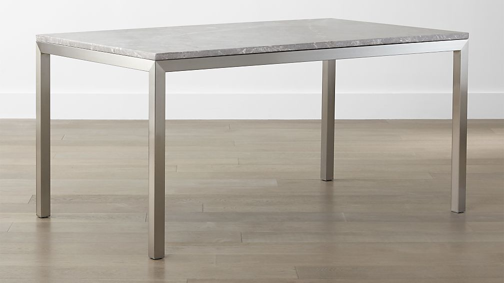 Parsons Grey Marble Top Stainless Steel Base Dining Tables Crate And Barrel