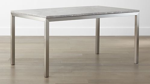 5e6674ec60b Parsons Grey Marble Top  Stainless Steel Base Dining Tables