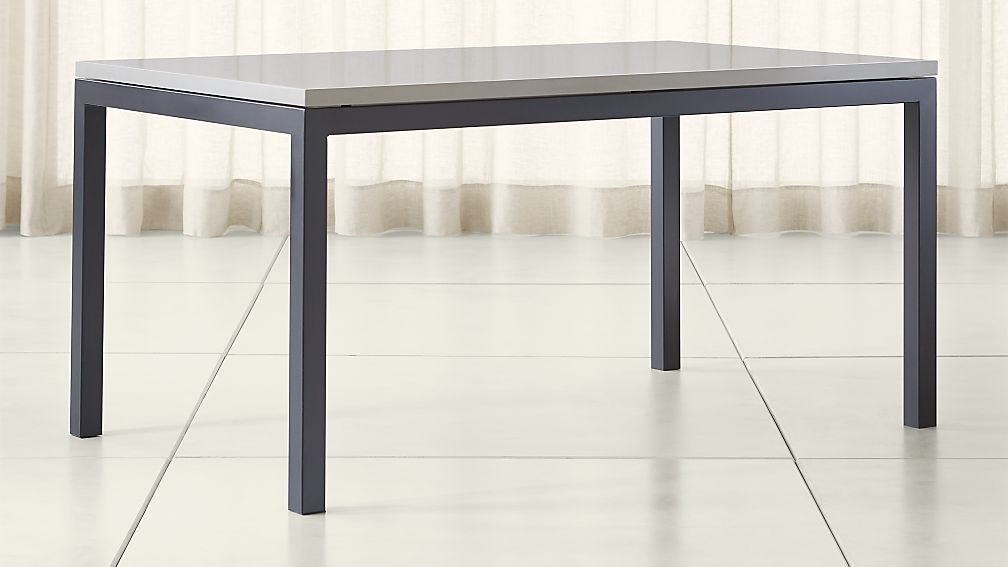 17179f9c1031e Parsons Grey Solid Surface Top  Dark Steel Base Dining Tables ...