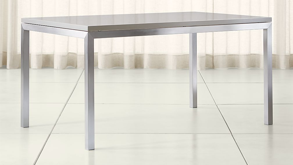 Parsons Grey Solid Surface Top/ Stainless Steel Base Dining Tables | Crate  and Barrel
