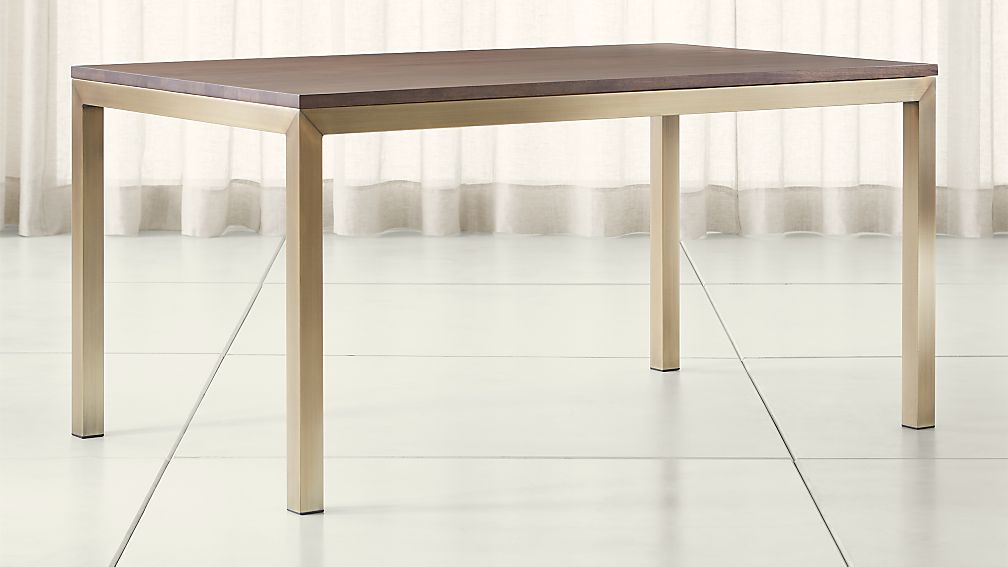 Parsons Walnut Top/ Brass Base Dining Tables - Image 1 of 6