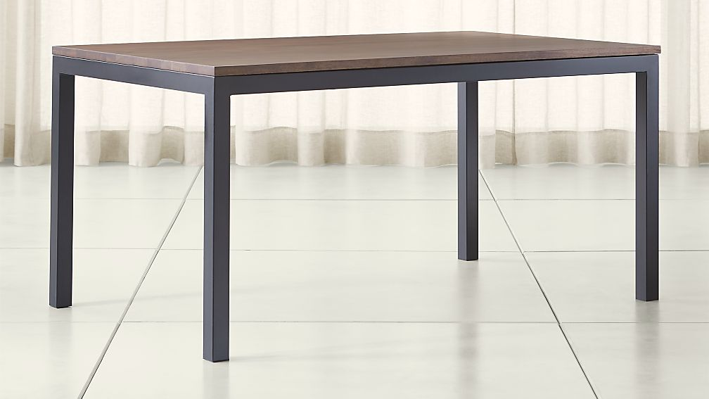 Parsons Walnut Top/ Dark Steel Base Dining Tables - Image 1 of 5