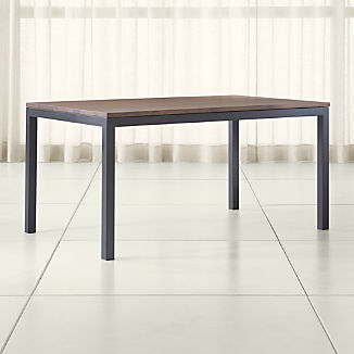 Parsons Walnut Top/ Dark Steel Base 72x42 Dining Table