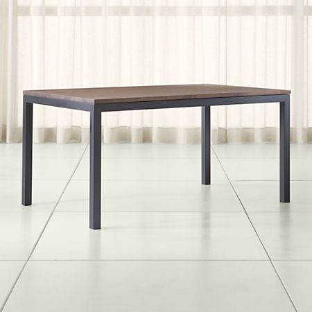 Parsons Walnut Top Dark Steel Base Dining Tables