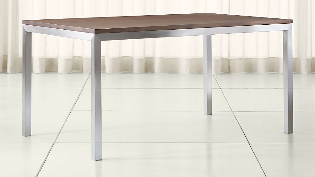 Parsons Walnut Top/ Stainless Steel Base Dining Tables | Crate And Barrel