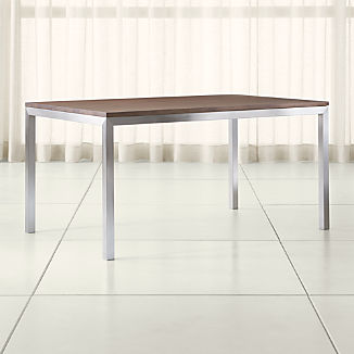 Parsons Walnut Top/ Stainless Steel Base Dining Tables