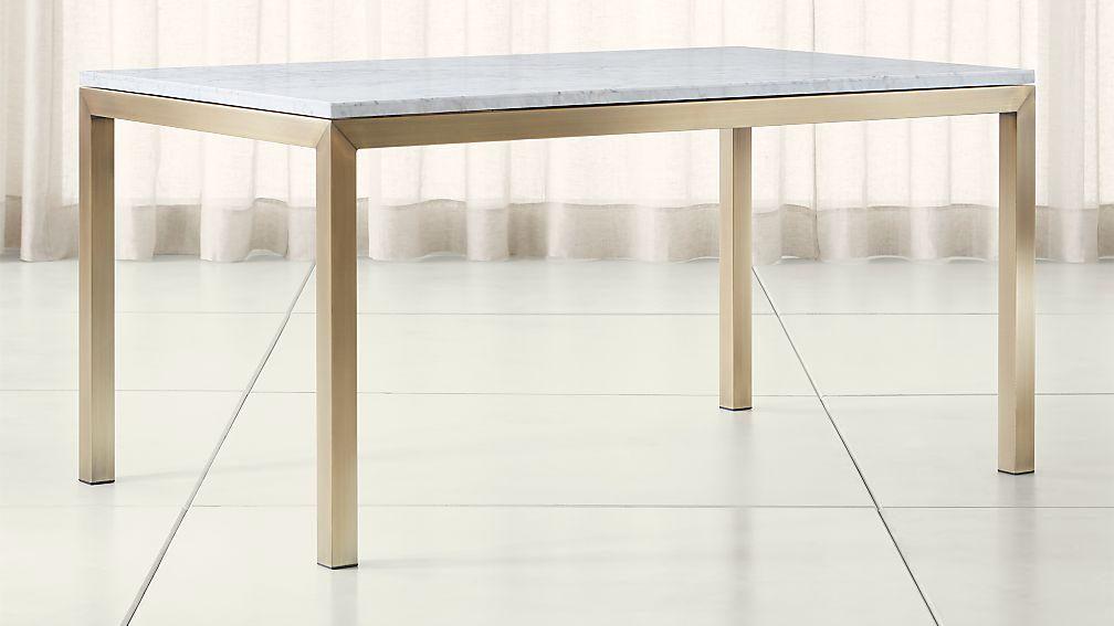 white marble dining table Parsons White Marble Top/ Brass Base Dining Tables | Crate and Barrel white marble dining table