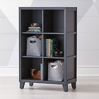 2 In 1 Charcoal 6 Cube Bookcase Kids