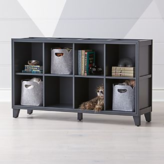 2 In 1 Charcoal 8 Cube Bookcase