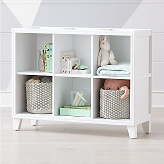 2 In 1 White 6 Cube Bookcase Kids