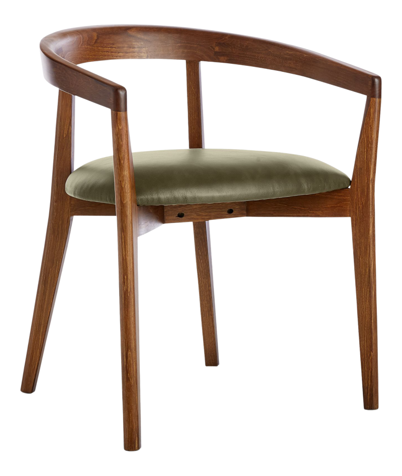 Cullen Dark Stain Olive Round Back Dining Chair