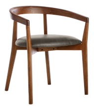 Cullen Dark Stain Saddle Round Back Dining Chair