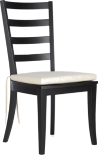 Harper Black Ladder Back Wood Dining Chair and Sand Cushion