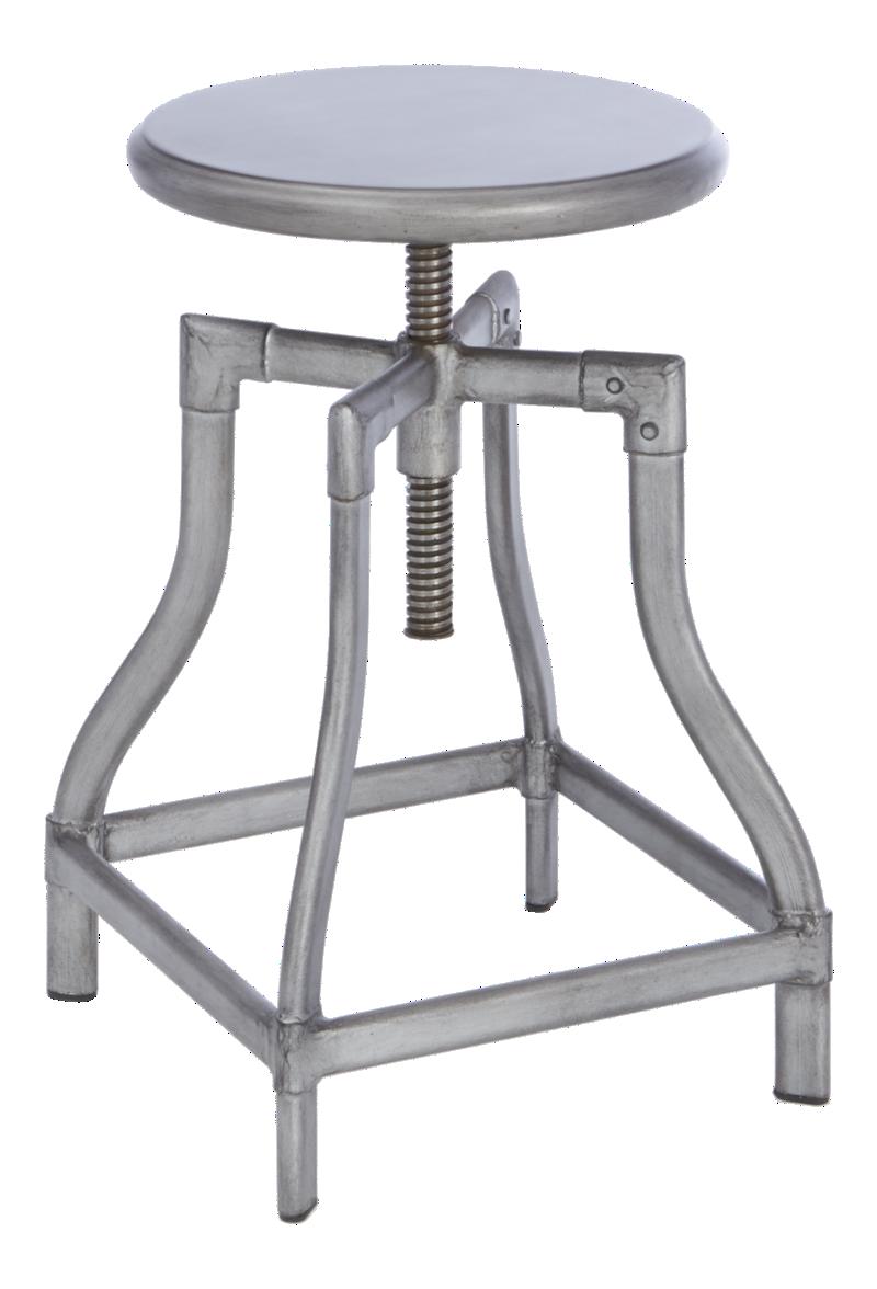 Turner Gunmetal Adjustable Backless Bar Stools and Linen Cushion