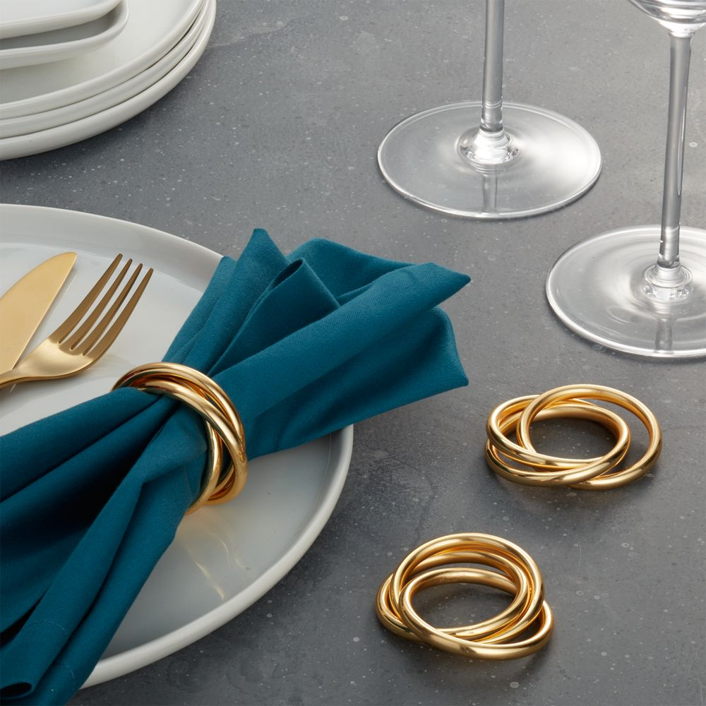 3-Ring Gold Napkin Ring - Crate and Barrel