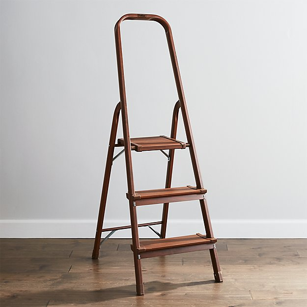 Polder 3 Step Walnut Step Stool Reviews Crate And Barrel