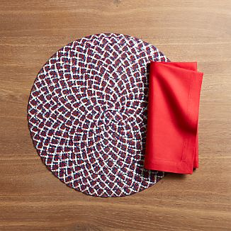 4th of July Round Placemat and Fete Cherry Red Cloth Napkin