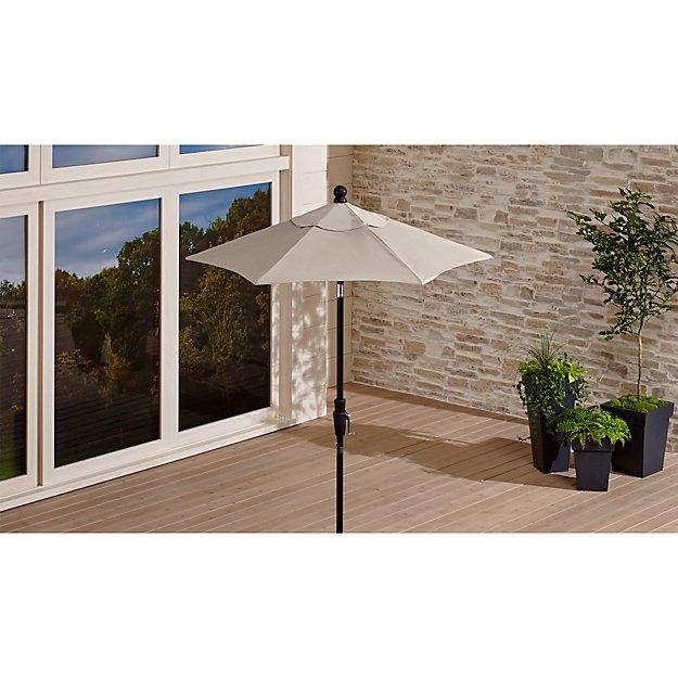 6' Round Sunbrella ® Stone High Dining Patio Umbrella with Tilt Black Frame - Image 1 of 7