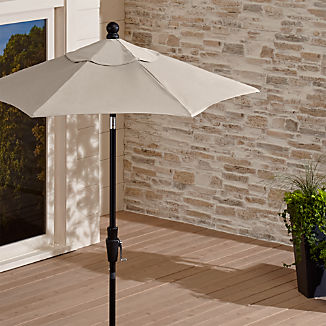 6' Round Sunbrella ® Stone High Dining Patio Umbrella with Tilt Black Frame