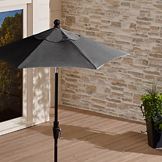 6' Round Sunbrella ® Charcoal Patio Umbrella with Tilt Black Frame