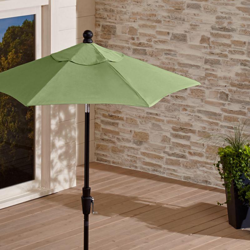 38d07e7e703e3 6' Round Sunbrella Cilantro Patio Umbrella with Tilt Black Frame + Reviews    Crate and Barrel