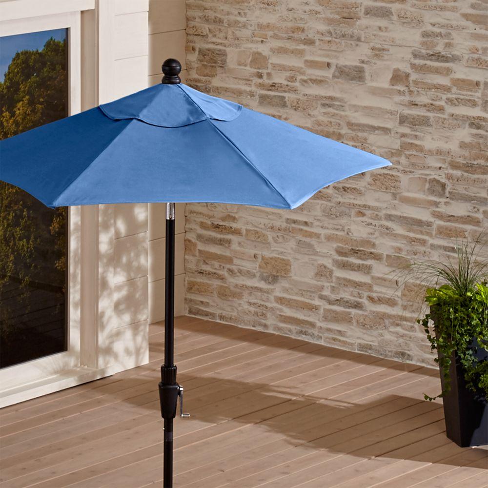 6' Round Sunbrella ® Mediterranean Blue Patio Umbrella with Tilt Black Frame - Crate and Barrel