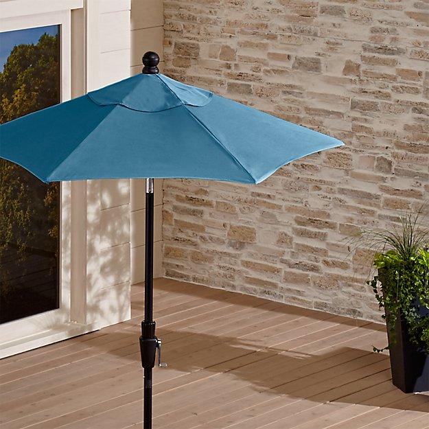 6 Round Sunbrella Sapphire Patio Umbrella With Tilt Black Frame