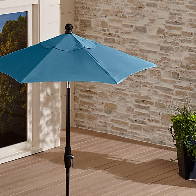 6' Round Sunbrella ® Sapphire Patio Umbrella with Tilt Black Frame - Image 1 of 3